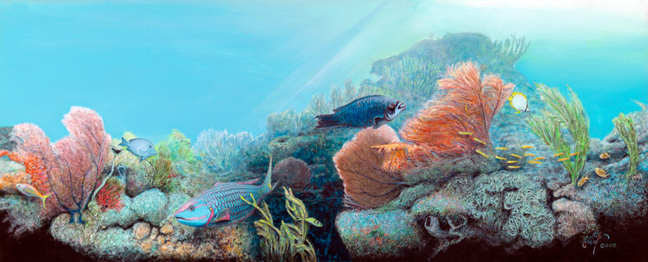 """Coral Reefscapes -Plate 1"" © Peter R. Gerbert, Florida Wildlife Art"