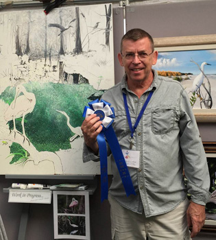 First Place Painting blue ribbon -Homosassa Arts, Crafts & Seafood Festival