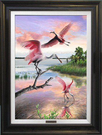 The Spoonbill Lagoon -Natural Wood Frame